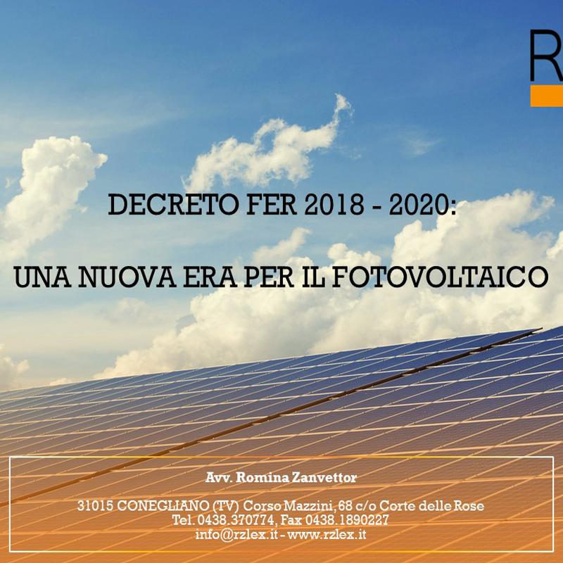Decreto Fer 2018-2020 Fotovoltaico